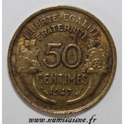 GADOURY 423b - 50 CENTIMES 1947 - TYPE MORLON BRONZE ALUMINIUM - KM 914