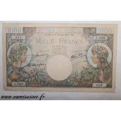 FRANCE - PICK 96 - 1000 FRANCS 1941 - 06/02 - TYPE TRADE AND INDUSTRY - RARE NUMBER