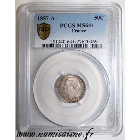 FRANCE - KM 794 - 50 CENT 1857 A - Paris - TYPE NAPOLEON III - PCGS MS 64 +