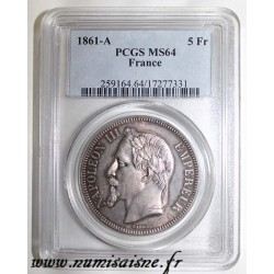 FRANCE - KM 799 - 5 FRANCS 1861 A - Paris - TYPE NAPOLEON III - PCGS MS 64