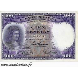 SPAIN - PICK 83 - 100 PESETAS - 25/04/1931