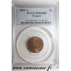 FRANCE - KM 827 - 2 CENTIMES 1892 A - Paris - TYPE CERES - PCGS MS 64 RB