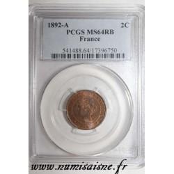 FRANKREICH - KM 827 - 2 CENTIMES 1892 A - Paris - TYP CERES - PCGS MS 64 RB