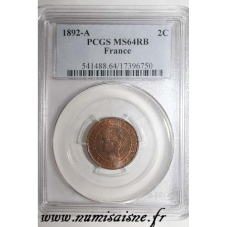 GADOURY 105 - 2 CENTIMES 1892 A - Paris - TYPE CÉRÈS - KM 827 - PCGS MS 64 RB