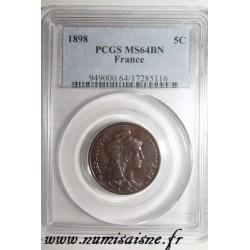 FRANCE - KM 842 - 5 CENTIMES 1898 - TYP DUPUIS - PCGS MS 64 BN