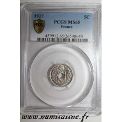 FRANCE - KM 875 - 5 CENTIMES 1927 - TYPE LINDAUER - PCGS MS 65