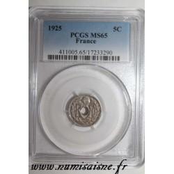 FRANCE - KM 875 - 5 CENTIMES 1925 - TYPE LINDAUER - PCGS MS 65