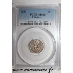 FRANCE - KM 875 - 5 CENTIMES 1924 - TYPE LINDAUER - PCGS MS 65