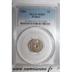 GADOURY 170 - 5 CENTIMES 1924 - TYPE LINDAUER - KM 875 - PCGS MS 65