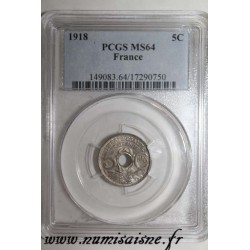 FRANCE - KM 865a - 5 CENTIMES 1918 - TYPE LINDAUER - PCGS MS 64