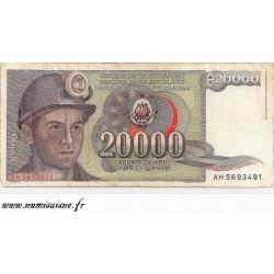 YOUGOSLAVIE - PICK 95 - 20 000 DINARA - 01/05/1987