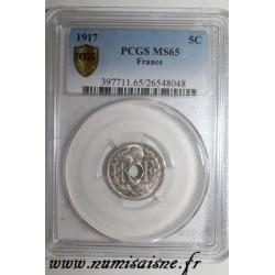 GADOURY 169 - 5 CENTIMES 1917 - TYPE LINDAUER - KM 865a - PCGS MS 65