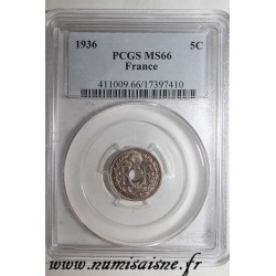 FRANCE - KM 875 - 5 CENTIMES 1936- TYPE LINDAUER - PCGS MS 66