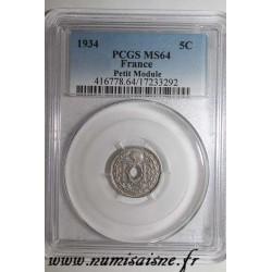 FRANCE - KM 875 - 5 CENTIMES 1934 - TYPE LINDAUER - PCGS MS 64