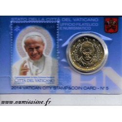VATICAN - 50 CENT 2014 AVEC 1 TIMBRE - COINCARD 5 - JEAN PAUL II