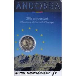 ANDORRE - 2 EURO 2014 - 20ème Anniversaire du conseil d'Europe - COINCARD