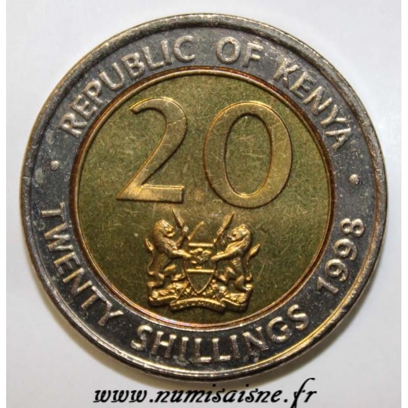 KENYA 20 SHILLING 1998 ARAP MOI KM 32 BI-METALLIC COIN UNC