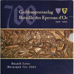 BELGIQUE - COFFRET EURO BRILLANT UNIVERSEL 2002 - 3.88 euros et 1 MEDAILLE