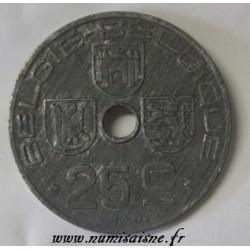 BELGIUM - KM 132 - 25 CENTIMES 1945