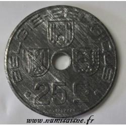 BELGIUM - KM 132 - 25 CENTIMES 1946