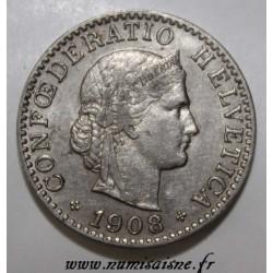 SCHWEIZ - KM 29 - 20 RAPPEN 1908 B