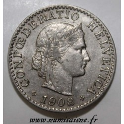 SWITZERLAND - KM 29 - 20 RAPPEN 1908 B