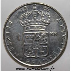 SUÈDE - KM 826 - 1 KRONA 1960