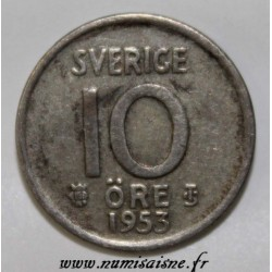 SWEDEN - KM 823 - 10 ORE 1953 - GUSTAF VI