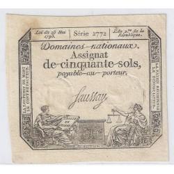 ASSIGNAT DE 50 SOLS - 23/05/1793 - DOMAINES NATIONAUX - TTB