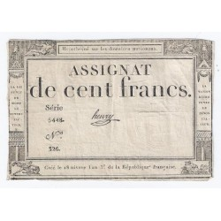 ASSIGNAT DE 100 FRANCS - 07/01/1795 - DOMAINES NATIONAUX - TTB