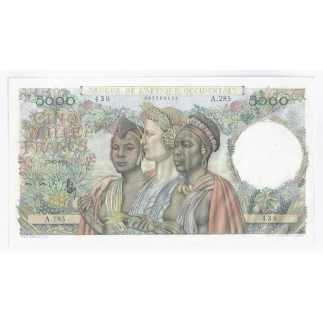 FRENCH WEST AFRICA - PICK 43.2 - 5.000 FRANCS - 22/12/1950