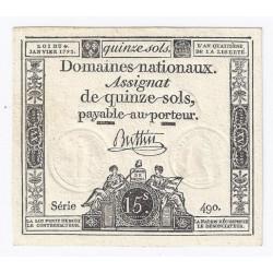 ASSIGNAT DE 15 SOLS - 1792 - DOMAINES NATIONAUX - SPL