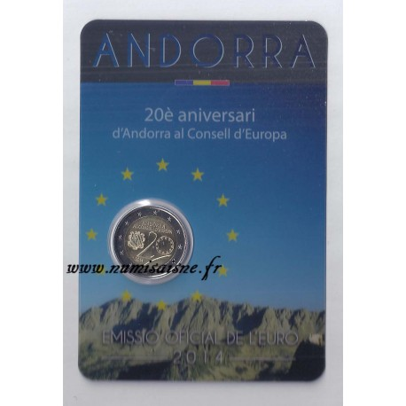 ANDORRA - 2 EURO 2014 - 20 YEARS AT THE EUROPEAN COUNCIL - Coincard