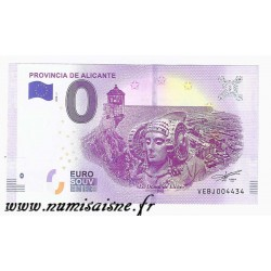 ESPAGNE - BILLET DE 0 EURO SOUVENIR - PROVINCE DE ALICANTE - 2018