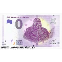 ESPAGNE - BILLET DE 0 EURO SOUVENIR - ZOO AQUARIUM DE MADRID - GORILLE - 2019