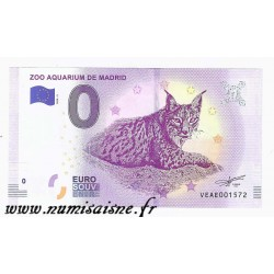SPAIN - TOURISTIC 0 EURO SOUVENIR NOTE - ZOO AQUARIUM OF MADRID - LYNX - 2018