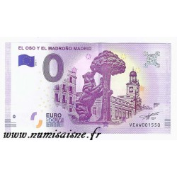 SPAIN - TOURISTIC 0 EURO SOUVENIR NOTE - STATUE OF BEAR AND ARBUTUS