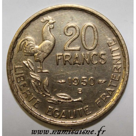 FRANCE - KM 917.2 - 20 FRANCS 1950 B - TYPE G.GUIRAUD - 4 FEATHERS