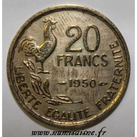 FRANCE - KM 917.1 - 20 FRANCS 1950 - TYPE G.GUIRAUD - 4 FEATHERS