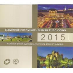 SLOVAQUIE - COFFRET EURO BRILLANT UNIVERSEL 2015 - 8 PIECES (3.88 euros) + 1 MEDAILLE BICOLORE