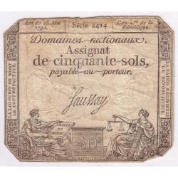 ASSIGNAT DE 50 SOLS - 1793 - DOMAINES NATIONAUX - TTB