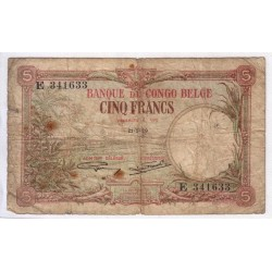 CONGO BELGE - PICK 8 e - 5 FRANCS - 21.1.1929 - TRES BEAU