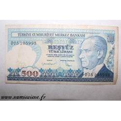 TURKEY - PICK 195 - 500 LIRA - NON DATE (1970)