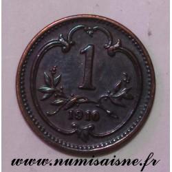 AUSTRIA - KM 2800 - 1 HELLER 1910 - FRANZ JOSEPH I