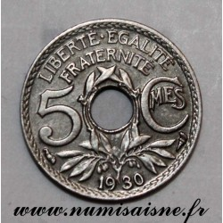 FRANCE - KM 875 - 5 CENTIMES 1930 - TYPE LINDAUER - Offset at 7h