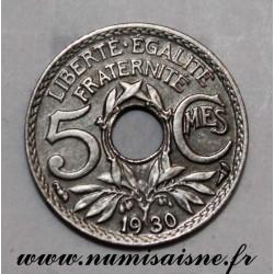 GADOURY 170 - 5 CENTIMES 1930 - TYPE LINDAUER - KM 875 - Désaxée à 7h