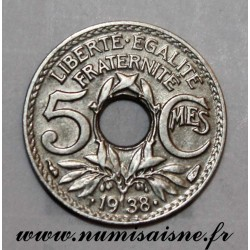 FRANCE - KM 875 - 5 CENTIMES 1938 - TYPE LINDAUER - With dots