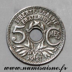 FRANCE - KM 875 - 5 CENTIMES 1921 - TYPE LINDAUER