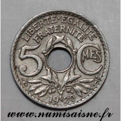 FRANCE - KM 875 - 5 CENTIMES 1920 - TYPE LINDAUER