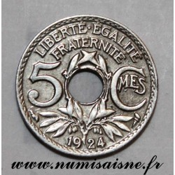 FRANCE - KM 875 - 5 CENTIMES 1924 - TYPE LINDAUER - Small Module